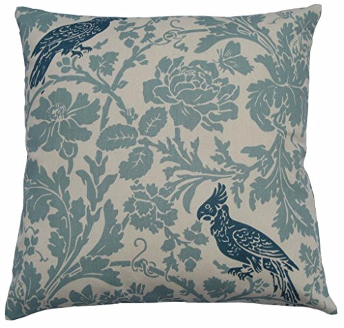 JinStyles Cotton Canvas Floral Parrot Accent Decorative Throw / Toss Pillow Cover (Carolina Blue & Ivory, Square, 1 Cushion Sham for 18 x 18 Inserts)