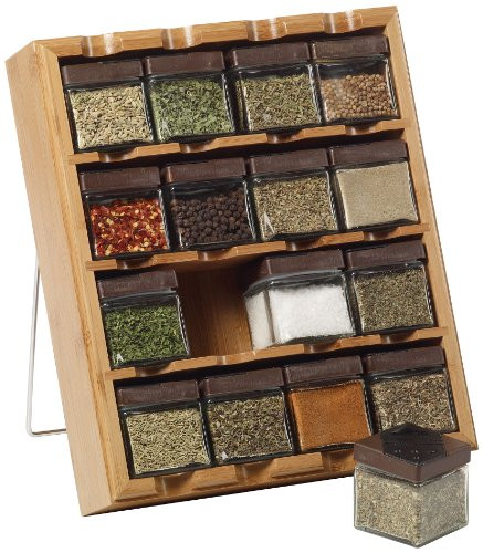 Kamenstein Bamboo Inspirations 16-Cube Spice Rack with Free Spice Refills for 5 Years