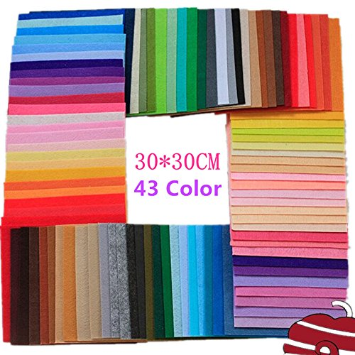 SDBING DIY Polyester Felt Fabric Nonwoven Sheet for Craft Work 43 Colors 30*30cm
