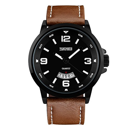 CIVO Men's Big Face Brown Leather Band Wrist Watch Men Waterproof Business Casual Dress Watches Water Resistant Classic Simple Design Analogue Quartz Date Calendar Wristwatch for Men Black Dial