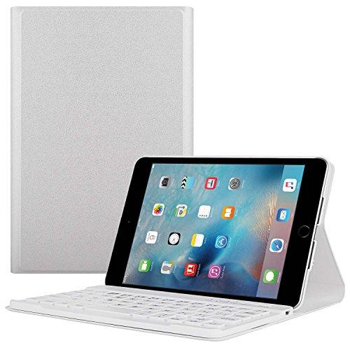 TWOBIU(TM) Ipad mini 4 Bluetooth Keyboard Ipad Mini Bluetooth keyboard Case, Leather Pouch with 360 Degree Rotating Stand Case Cover Wake/ Sleep and Elastic Band-White