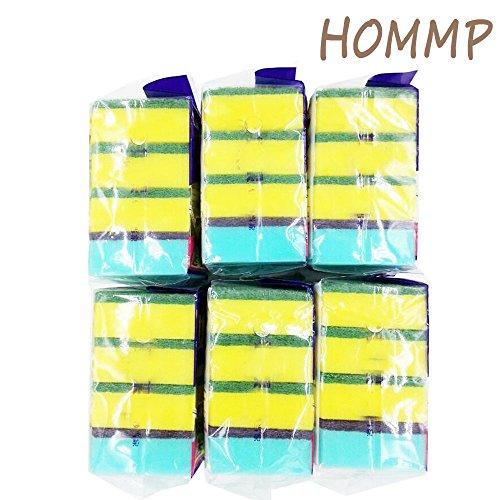HOMMP No-scratch Heavy Duty Scrub Sponge, 6 Packs, 24 Counts