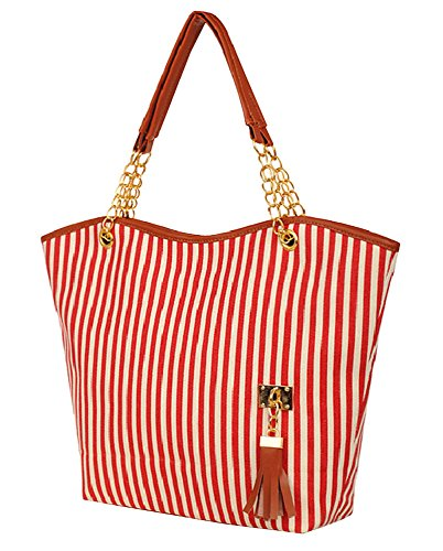 niceeshop(TM) Fashion Stripe Single Shoulder Canvas Bag Women Handbag (Red White)