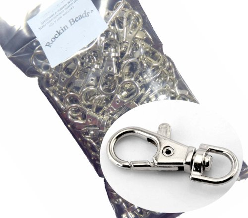 Rockin Beads Brand, 20 Nickle Plated Lobster Claw Swivel Clasps for Key Ring 38x16mm(1 1/2x5/8)