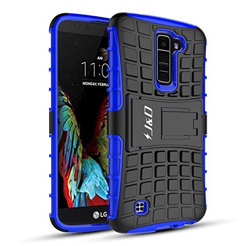 LG K7 Case, LG Tribute 5 Case, J&D [Kickstand] LG K7 Case [Heavy Duty] [Dual Layer] Hybrid Shock Proof Fully Protective Case for LG K7 / Tribute 5 (Blue)