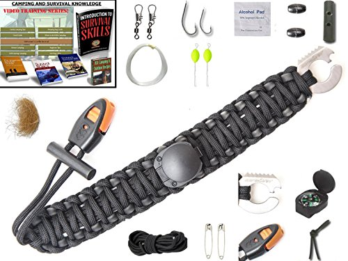 THE #1 BEST : Paracord Bracelet Emergency kit Survival Tool Adjustable Size with rubber band tubing Fishing Kit Flint Fire Starter Whistle Upgraded Compass eBooks lifetime