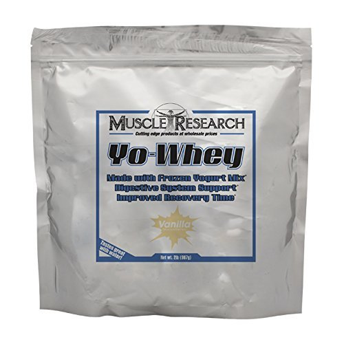 Yo-Whey Vanilla 2lb. - Delicious Whey Protein made with Frozen Yogurt Mix for Digestive Support by Muscle Research