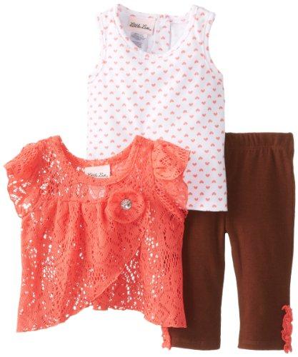 Little Lass Baby Girls' 3Pc Layered Capri Set Crochet Printed Knit, Coral, 24 Months