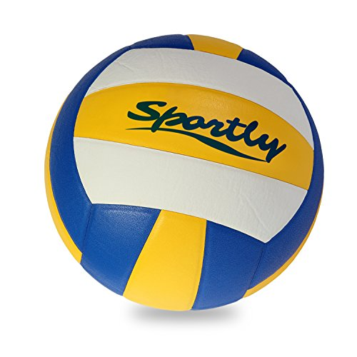 Sportly Outdoor Beach Volleyball- Soft Touch Synthetic Leather Ball, Regulation Size and Weight, Fits Volleyball Practice Machines, Includes Pump and Needle