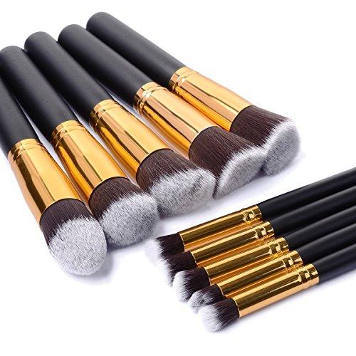 Dealzip Inc® Quality Synthetic Professional Makeup Brush Set Cosmetics Foundation Blending Blush Face Powder Brush Makeup Brush Kit(10pcs, Golden Black)