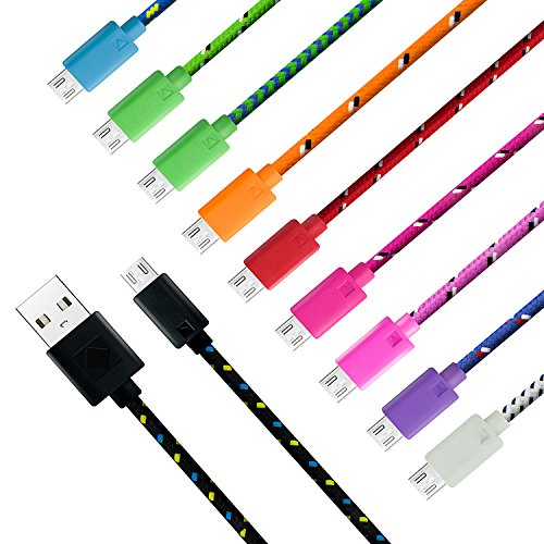 Eversame Braided Micro USB Extension Cable [10-Pack] 0.3m 11-Inch Colorful Durable High Speed USB 2.0 A Male to Micro B Data Sync & Charging Cable Cord For Android Phones, Samsung Galaxy Tab/S6 Edge/S4/Note 4/Note Edge, HTC One X/M8, Motorola Moto X, LG G3/G4/Tablet, HP, Sony, Blackberry, Wacom Bamboo, PS4, and other Windows Smartphones and Tablets-Black White Purple Pink Hot Pink Red Dark Green Blue Green Orange
