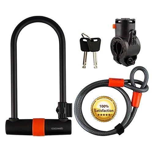 Cocoweb Sport Armbar Curl U-Lock with Lotuslock Bike Flex Loop Cable Bike Lock Duo Combo - Orange (Curl)
