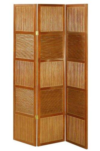 Rattan And Wood 66.25h Three panel Room Divider
