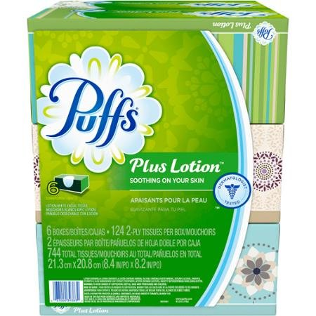 Puffs Plus Lotion Facial Tissues Family Box, 6ct Soothing Lotion with Aloe, Vitamin E, and Shea Butter