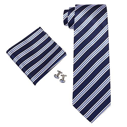 Landisun Stripes Mens SILK Tie Set: Tie+Hanky+Cufflinks 30N Navy Blue White, 3.75Wx59L