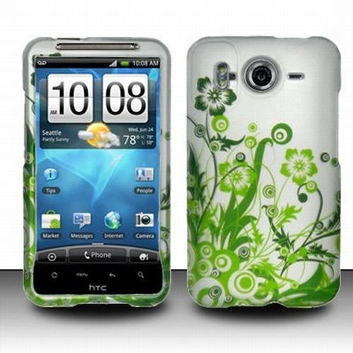 HTC Inspire 4G Accessory - Blossoming Green Spring Flower Protective Hard Rubberized Case Cover Design for AT&T