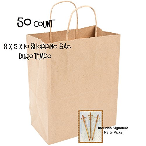 50 Paper Retail Shopping Bags KRAFT with Rope Handles 8x4.75x10