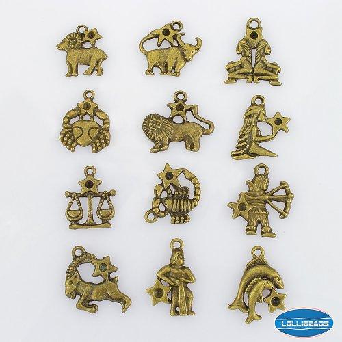 LolliBeads 2 Sets of Zodiac Pewter Antiqued Brass Bronze Bracelet Necklace Charms Pendants (24 Pcs)