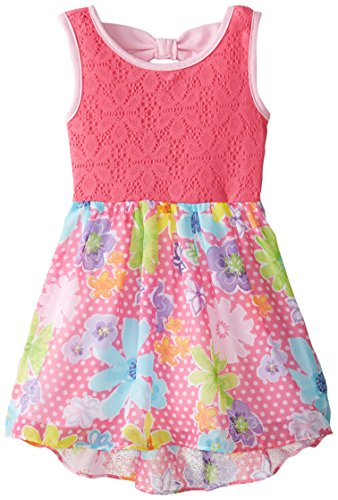 Sweetheart Rose Little Girls' Crochet Lace To Floral Chiffon High-Low Dress