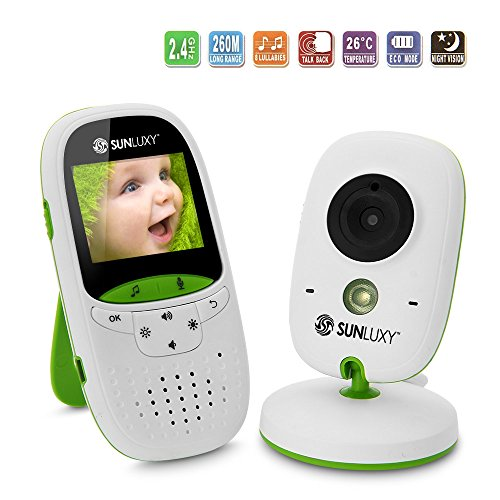 SUNLUXY 2.0 inch LCD Color Wireless Digital Video Baby Monitor, Temperature Monitoring, Infrared Night Vision, Two-Way Baby Intercom, Long-distance Transmission