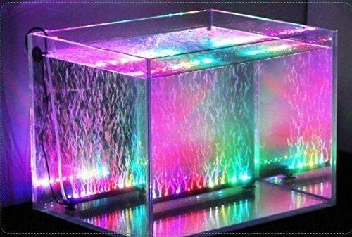 Xcellent Global 31 cm Aquarium Fish Tank Lights 18 LED Submersible Waterproof RGB Air Bubble Lights 16 Colour 5050 LED Remote Control Color Changing With UK Plug LD074