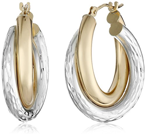 Bonded 14k Yellow Gold and Sterling Silver Two-Tone Hoop Earrings