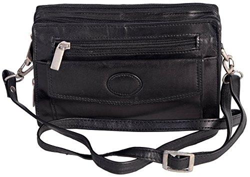 Champs Women's Genuine Leather Black Shoulder Bag Zip Purse Snap Change Pockets