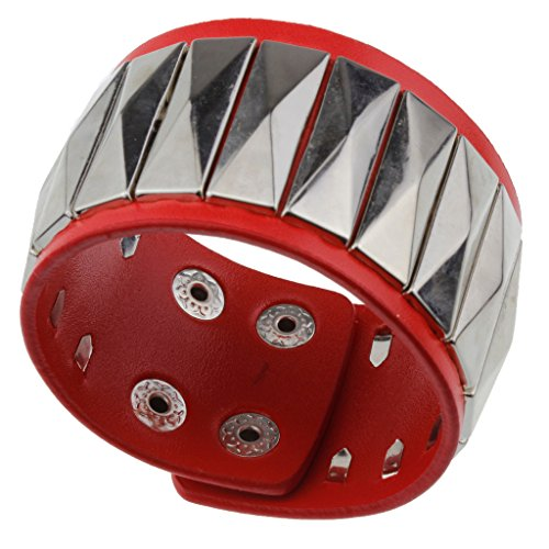 Punk Rock Red Leather Wrist Wrap with Metal Studs Bracelet - Fashion Accessories Perfect for Women Girls