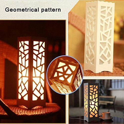 Dailyart Dimmer Switch, Geometrical Pattern Cut Out White Table Lamp, Soft Glow Style, AC240V, with UK Plug, 11.8*4*4 inches, E14 bulb base