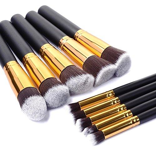 Mondpalast black gold 10-Piece Professional Cosmetics Make up Brush Set Cosmetics Foundation Blending Blush Eyeliner Face Powder Brush Makeup Brush Kit