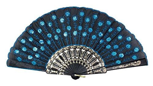 Peacock Pattern Sequin Fabric Hand Fan Decorative,blue