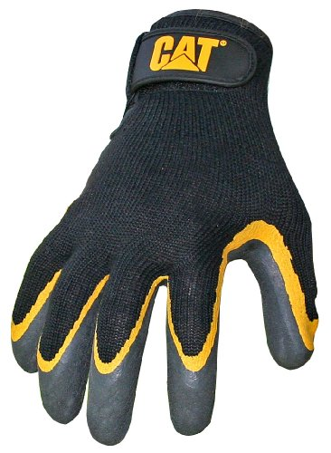 CAT CAT017415L Black latex coated palm glove with grey shell