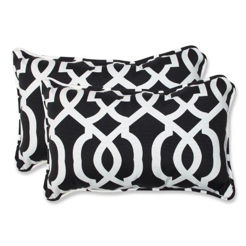 Pillow Perfect Outdoor New Geo Rectangular Throw Pillow, Black/White, Set of 2