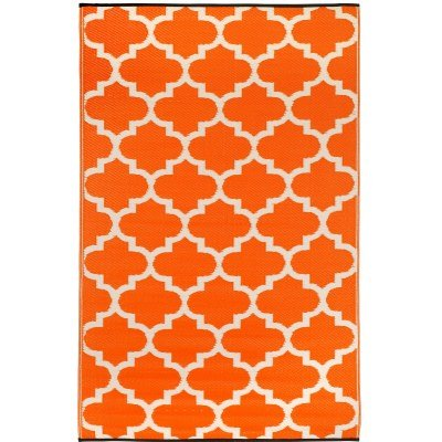 Fab Habitat Tangier Indoor/Outdoor Rug, 3 by 5-Feet, Carrot and White