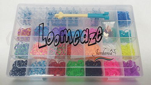 Rubber Bands For Bracelets Loom Kit - Loomeaze Crafts With Rainbow Of Color Bands Includes Fun Custom Jewelry Wristband Maker, Storage Box For Neat Organized Supplies And Free Unique Bonus Charms For Hottest DYI craft of the Year