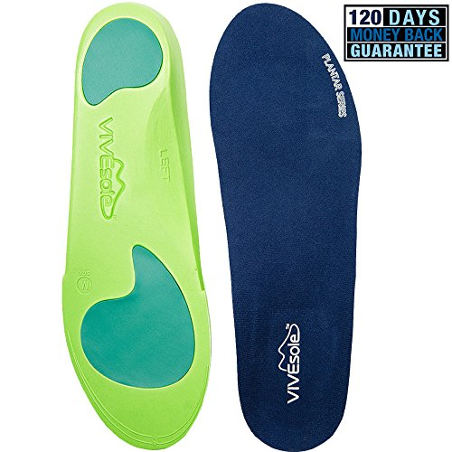 Full Length Orthotics by VIVEsole - Plantar Series - Insoles with Arch Support, Heel and Forefoot Cushions for Plantar Fasciitis - Vive Guarantee