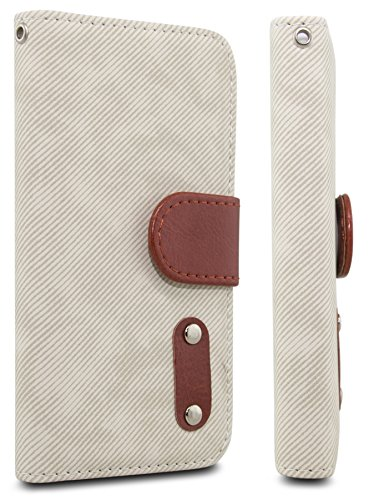 iPhone 5 cases, iPhone 5 cases,iPhone 5 leather case, Case AceTM Denim PU Leather Wallet Type Magnet Design Flip Case Cover with Credit Card Holders for iPhone 5 5G 5S (Beige)