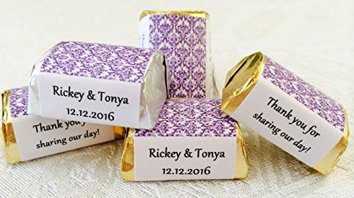 300 Purple Damask Themed Wedding Candy wrappers/stickers/labels for HERSHEY NUGGETS (Personalized Favors)
