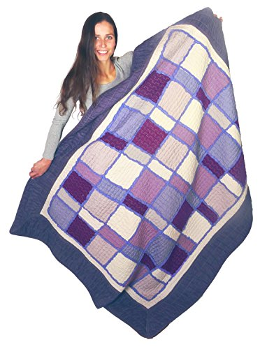 Squish Quilted Oversize Throw 55x70-inch, Linen and Cotton, Washed Indigo Theme