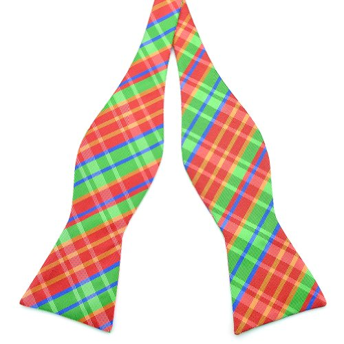 PenSee Mens Self Bow Tie Red & Green & Multi-color Plaids Woven Silk Bow Ties