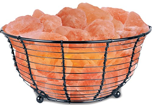 WBM 1301 1301 15-Watt 9-by-5-1/2-Inch Basket Lamp with Himalayan Natural Crystal Salt Chunks, Pink