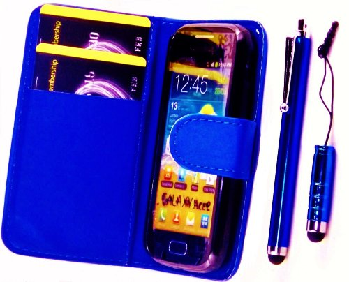 R.BAWA. Pack Containing 5 Parts. Blue Leather Wallet Case for Samsung Galaxy Ace 2, i8160 + 2 Screen Protectors + 2 Stylus