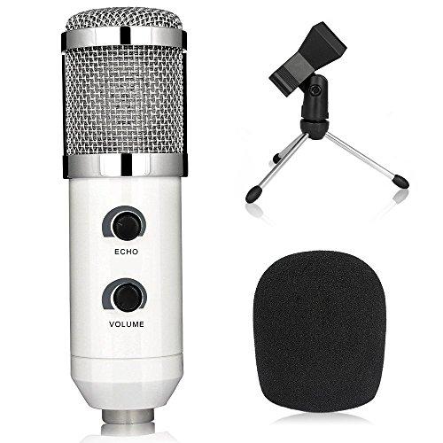 Btopllc USB Microphone Professional USB Podcast Condenser Microphone PC Recording Professional Microphone For PC/Computer (Windows, Mac, Linux OX ), Plug and Play, for Podcasting, Recording - White