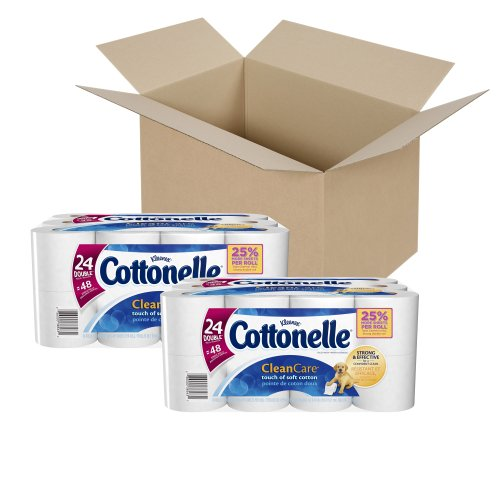 Cottonelle Clean Care Toilet Paper, Double Roll, 24 Rolls, Pack of 2 (48 Rolls)
