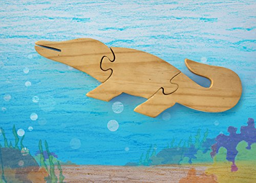 Wooden Jigsaw Puzzle Crocodile Shaped Educational DIY Woodcraft Toy Brain Teaser Game for Toddler Kids 3 Pieces