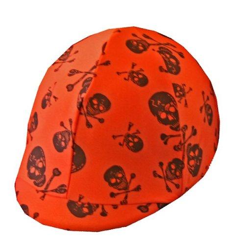 Equestrian Riding Helmet Cover - Orange Skulls