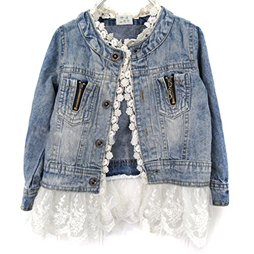 PanDaDa Girls Jacket Denim Jean Lace Outerwear Overcoat Cowboy Coat Collarless