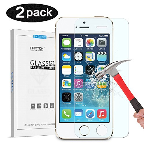 OMOTON iPhone 5S/5C/5 Screen Protector - Tempered Glass Protector for iPhone 5S/5C/5 with [2.5D Round Edge] [9H Hardness] [Crystal Clear] [Scratch Resist] [No-Bubble] (pack of 2)