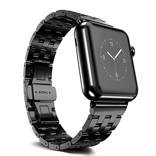 Apple Watch Band, Aofu Stainless Steel Strap Classic Adapter Buckle Watch Bands for Apple Watch(42mm Black)