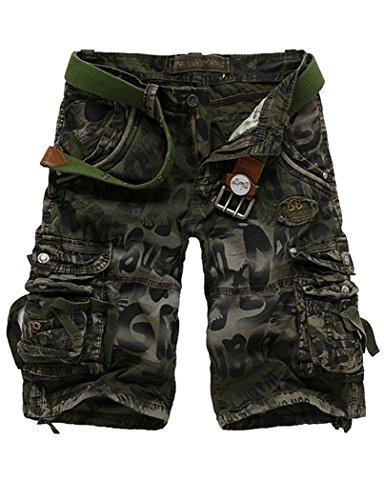BCBM Mens Slim Fit Multi Pocket Cargo Shorts Summer Casual Camouflage Pant